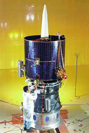 Lunar Prospector - The fully assembled Lunar Prospector spacecraft is shown mated atop the Star 37 Trans Lunar Injection module
