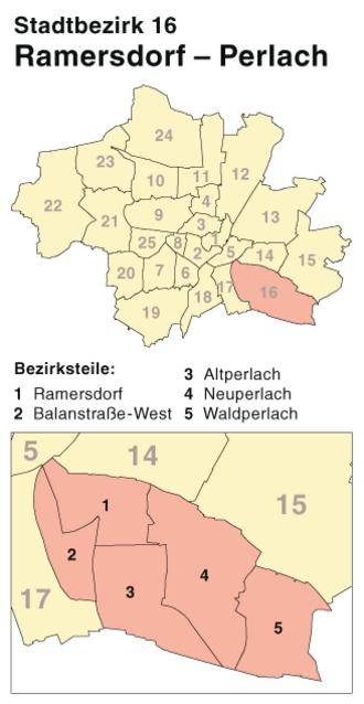 Ramersdorf-Perlach - District map