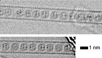 Carbon peapod - Image: M3N@C80 CNT
