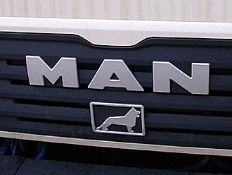 MAN SE - This logo is on the front of all MAN trucks and buses. The lion comes from Büssing AG, a company that MAN acquired in 1971.  It resembles the coat of arms of the city of Brunswick.