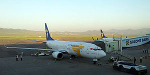 Chinggis Khaan International Airport - Two MIAT Mongolian Airlines Boeing 737-800s at Chinggis Khaan International Airport