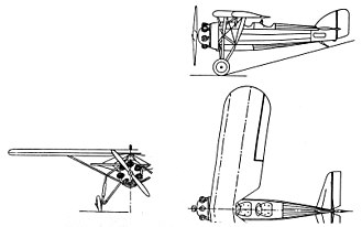Morane-Saulnier MS.230 - Morane Saulnier MS.230 3-view drawing from L'Aerophile Salon 1932