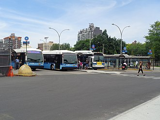 Nostrand Avenue Line (surface) - The northern terminal of the bus route, and the former terminal of the streetcar line, the Williamsburg Bridge Plaza Bus Terminal.