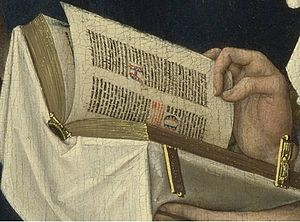 The Magdalen Reading - Detail showing the prayer book, likely a book of hours, decorated with white cloth and gold clasps.