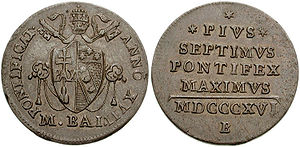 History of coins in Italy - A Papal States scudo with Pope Pius VII.