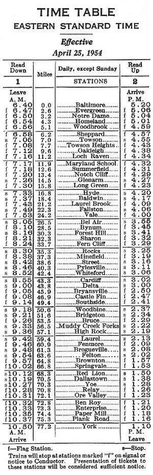 "Maryland and Pennsylvania Railroad - Final ""Ma and Pa"" passenger timetable, 1954"