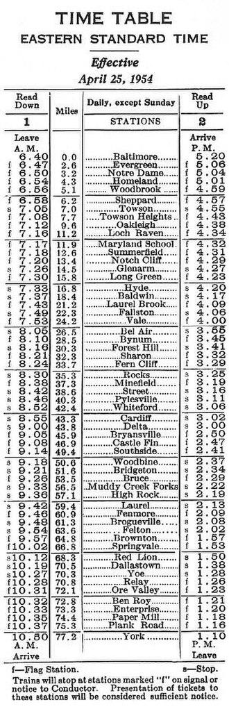 "Maryland and Pennsylvania Railroad - Final ""Ma and Pa"" passenger timetable, 1954"