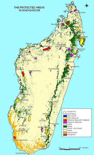 A map of Madagascar's Protected Areas