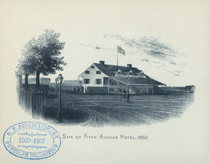 """""""Madison Cottage"""" on the site of the Fifth Avenue Hotel at Madison Square, New York City, 1852"""
