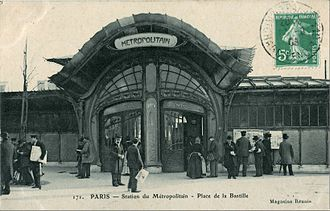 Paris Métro entrances by Hector Guimard - Bastille station entrance, now demolished, on another early postcard