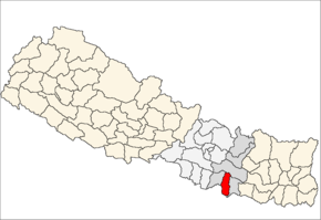 Mahottari District i Janakpur Zone (grå) i Central Development Region (grå + lysegrå)