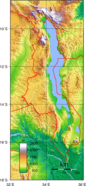Outline of Malawi - An enlargeable topographic map of Malawi