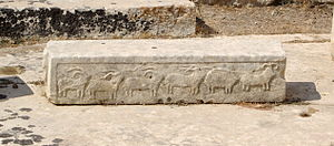 Tarxien Temples - A relief showing goats and rams in one of the temples at Tarxien.