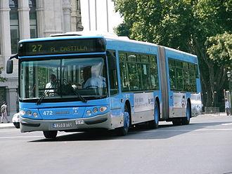 Empresa Municipal de Transportes de Madrid - Castrosua bus operating in central Madrid.