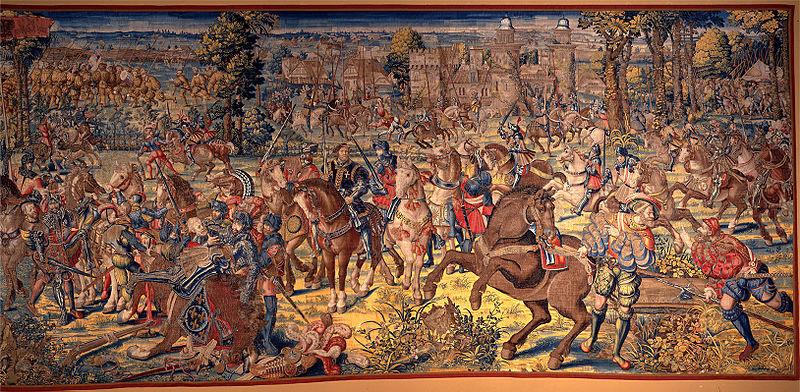 File:Manif. di bruxelles su dis.di bernart von orley, arazzi della battaglia di pavia, cattura di francesco I di francia, IGMN144489, 1526-31.JPG