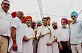 Manish Tewari being honoured with Shawl and Sword by the residents of Mullanpur, Distt. Ludhiana of Punjab. The Ex Minister of Punjab, Shri Malkit Singh Dakha and the DCCU President, Shri Pawan Diwan are also seen.jpg