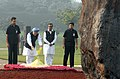 Manmohan Singh, paying floral tributes to Former Prime Minister, Late Smt. Indira Gandhi on the occasion of her 91st birth anniversary at Shakti Sthal in Delhi. The Minister of State for Urban Development.jpg