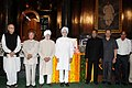 Manmohan Singh, the Union Finance Minister, Shri Pranab Mukherjee, the Chairman of the BJP Parliamentary Party, Shri L.K. Advani and other dignitaries paid tributes to the former President of India.jpg