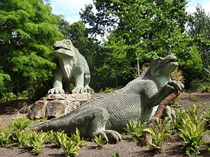 Iguanodon - Statues based on the Maidstone specimen of Mantellodon, designed by Benjamin Waterhouse Hawkins, after restoration in 2002