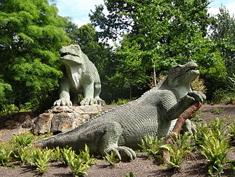 Crystal Palace Dinosaurs - Iguanodon sculptures in Crystal Palace Park
