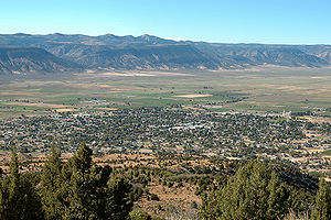 Manti, Utah - Birdseye view of Manti and the Sanpete Valley
