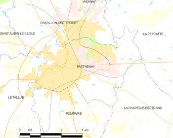 Map of the commune of Parthenay