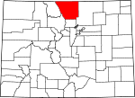Map of Colorado highlighting Larimer County.svg