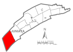 Map of Juniata County, Pennsylvania highlighting Lack Township