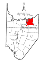 Map of Armstrong County, Pennsylvania highlighting Mahoning Township
