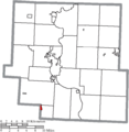 Map of Muskingum County Ohio Highlighting Roseville Village.png