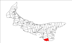 Map of Prince Edward Island highlighting Lot 62