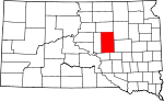 State map highlighting Hand County