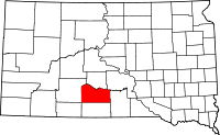 Map of South Dakota highlighting Mellette County