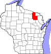 State map highlighting Forest County