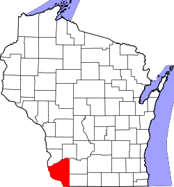 map of Wisconsin highlighting Grant County
