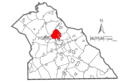 Map of York County, Pennsylvania highlighting Manchester Township