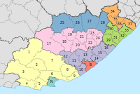 Map of the Eastern Cape with districts shaded and municipalities numbered (2011).svg