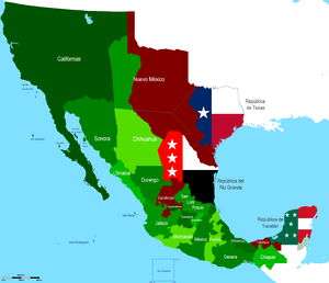 Territorial evolution of Mexico - Map of Mexico between 1836 and 1846, from the secession of Texas, Rio grande, and Yucatán to the Mexican–American War of 1846.