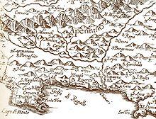 Mappa geografica del XVI secolo.