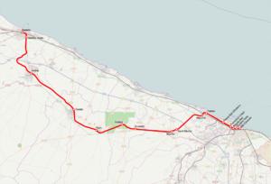 Bari–Barletta railway - Image: Mappa ferr Bari Barletta