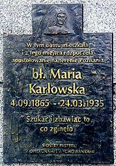 Maria Karlowska plaque Poznan.jpg