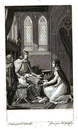 "Marie de France - ""Marie de France presents her book of poems to Henry II of England"" Charles Abraham Chasselat"