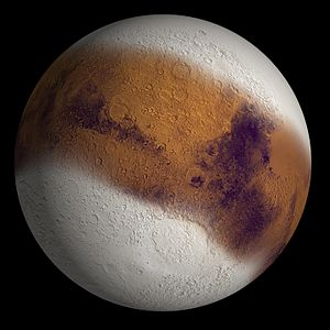 An illustration of what Mars might have looked like during an ice age between 2.1 million and 400,000 years ago, when Mars' axial tilt is believed to have been much larger than today. This illustration was prepared for the cover of the December 18 2003 issue of the journal Nature. (Image credit: Wikipedia)