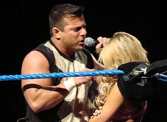 Matt Striker - Striker (left) talking down to Kelly Kelly at an ECW live event