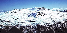 De top van Mauna Kea in de winter