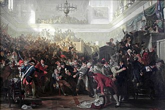 Fall of Maximilien Robespierre - The Fall of Robespierre in the Convention on 27 July 1794 (oil painting by Max Adamo, 1870)