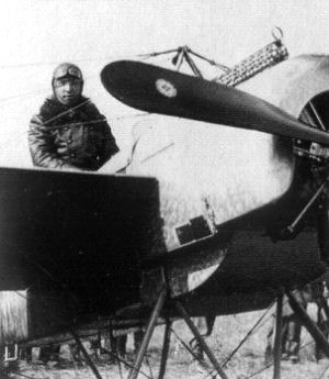 Luftstreitkräfte - Leutnant Max Immelmann with his first Fokker Eindecker, E.13/15.