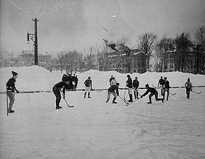 Hockey match at McGill University, Montreal, C...