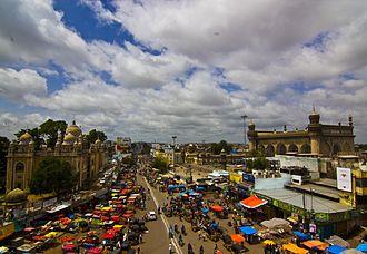 Makkah Masjid, Hyderabad - Mecca Masjid street view from Charminar
