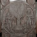 Medallion - 2nd Century BCE - Red Sand Stone - Bharhut Stupa Railing Pillar - Madhya Pradesh - Indian Museum - Kolkata 2012-11-16 1844 Cropped.JPG